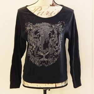Forever 21 Black Tiger Face Long Sleeve Top Sz S